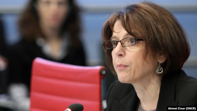 Maria Grazia Giammarinaro, the OSCE special representative and coordinator for combating trafficking in human beings, presenting her annual report to the OSCE Permanent Council in Vienna in December.