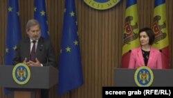 Comisarul european Johannes Hahn și premierul Maia Sandu, Chișinău, 19 iunie 2019