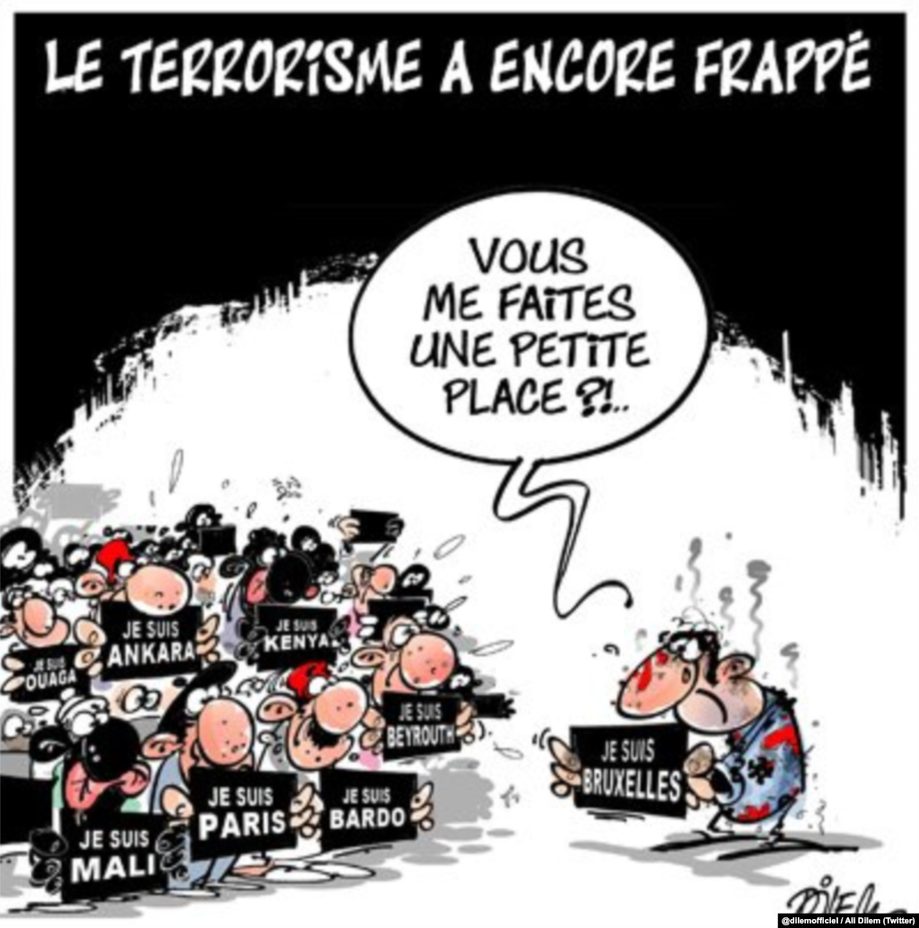 "Another popular cartoon. Translation of the French text: Terrorism Strikes Again -- ""Could you make a little room for me?!"" (Social-media generated content, via @dilemofficiel)"