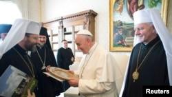 Папа Франциск з українськими єпископами у Ватикані, 20 лютого 2015 року