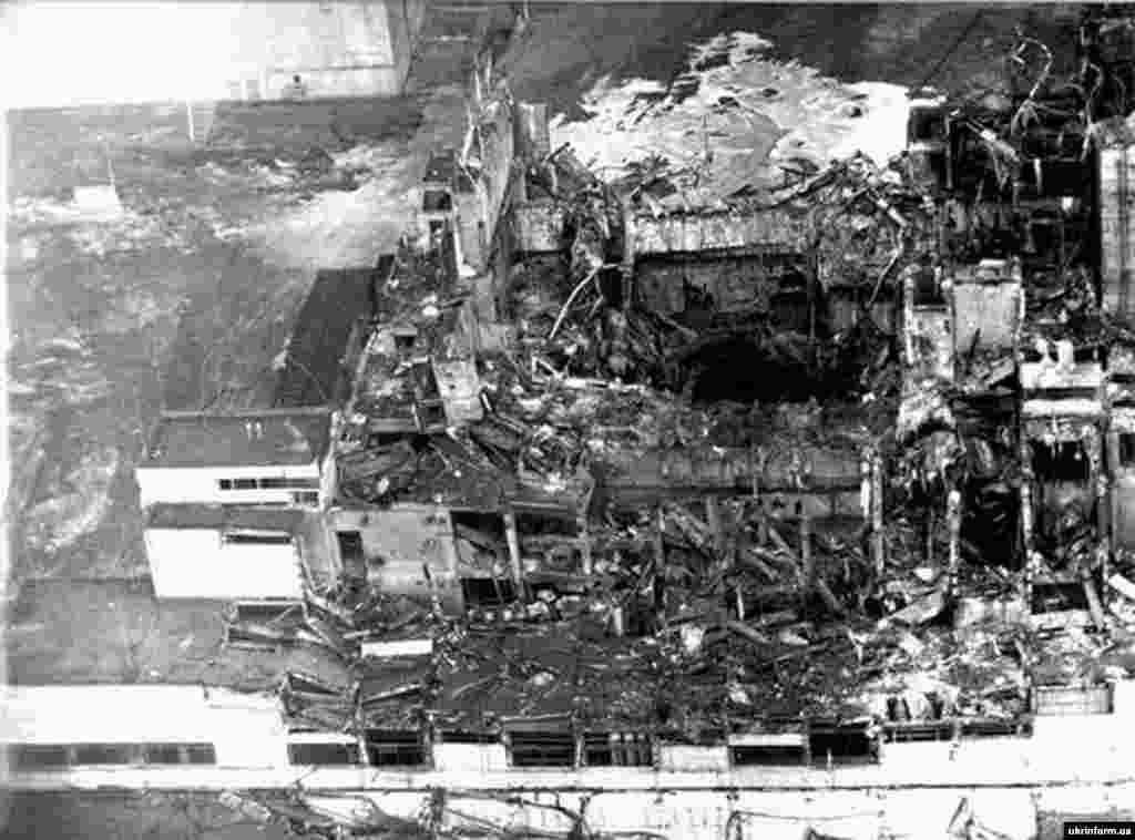 One of the first photos of Chornobyl nuclear plant after the April 26, 1986, blast. A massive power surge at the plant triggered the explosion that blew the 1,000-ton lid off the No. 4 reactor.