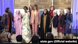 U.S. first lady Melania Trump with this year's awardees at the International Women of Courage awards on March 23.
