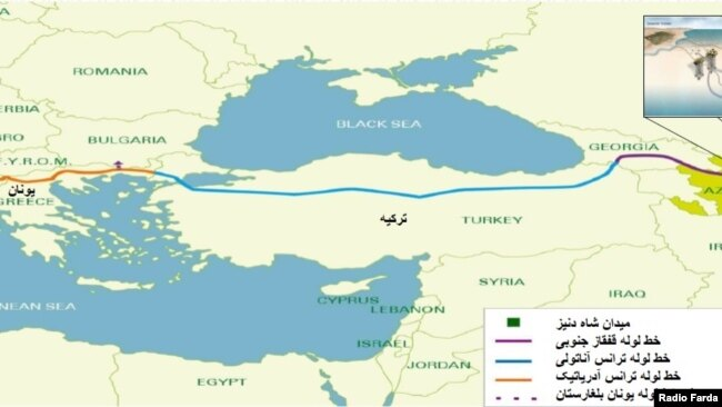 نقشه خط لولههای انتقال گاز به اروپا از آذربایجان، ترکیه و یونان
