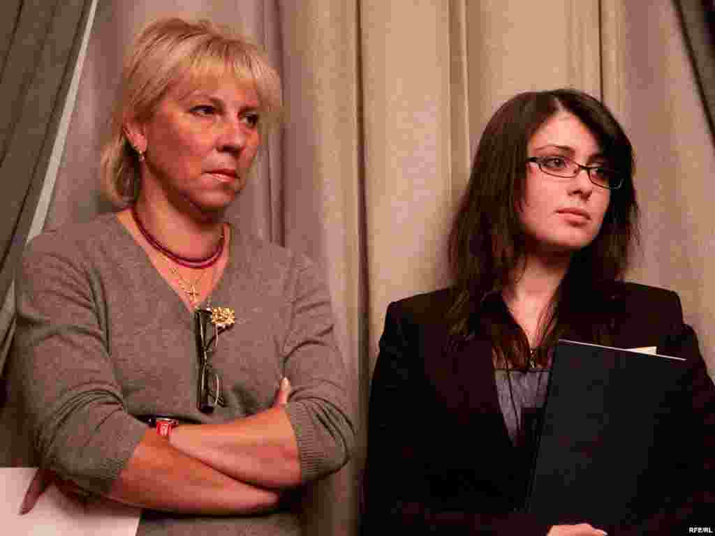 "Elena Lukyanova (left), a lawyer for Khodorkovsky, and his daughter Anastasia Khodorkovskaya attend ""Znamya"" magazine's literary award ceremony in January 2010, where Khodorkovskaya received an award on her father's behalf  for his ""Dialogues With Lyudmila Ulitskaya."""