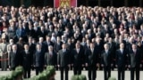 Minsk, Belarus - Belarussian officials watch a military parade following President Alexander Lukashenko's inauguration in Minsk April 8, 2006