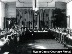 Святкування річніці БНР у Вільні (тоді Польща) в білоруській гімназії, 1935 рік