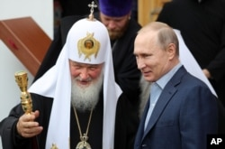 Предстоятель РПЦ патріарх Кирило та президент Росії Володимир Путін, 11 липня 2017 року
