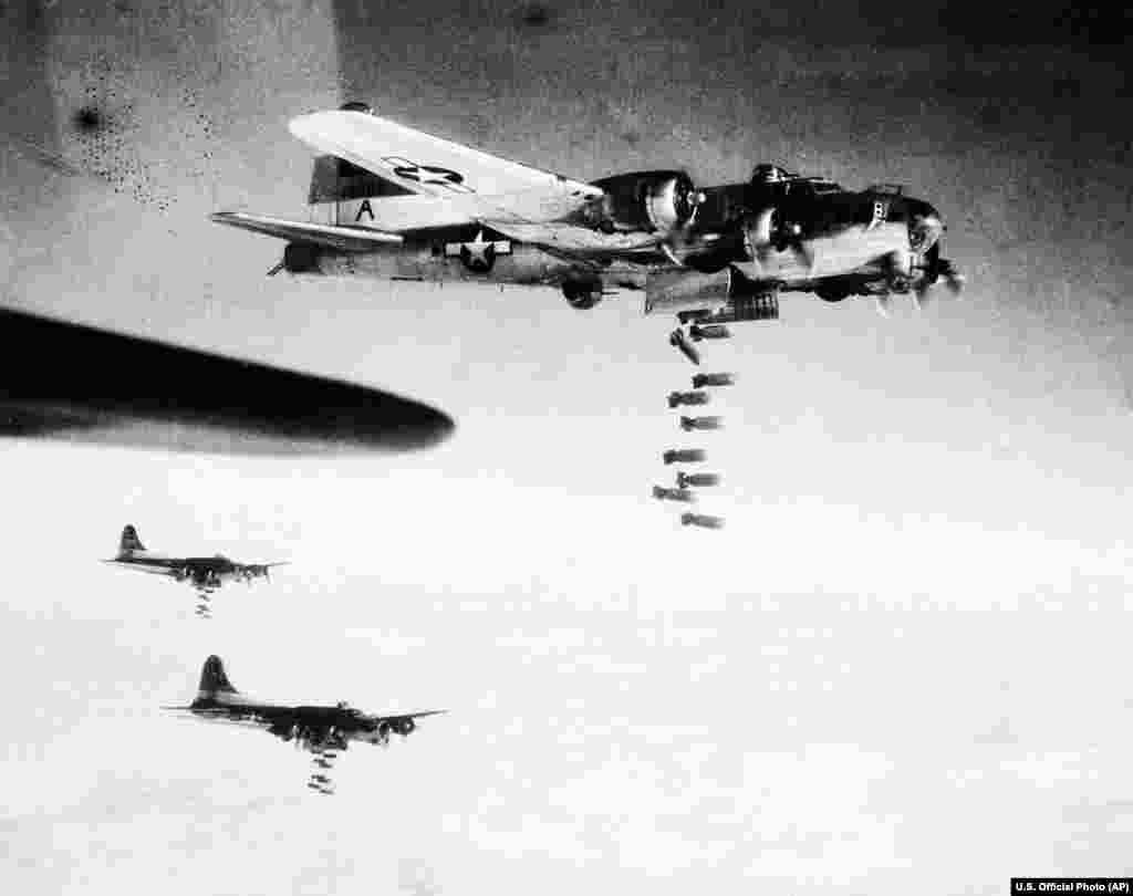 Yet more bombing raids followed, including by 311 U.S. Boeing B-17 planes (pictured) the following day.