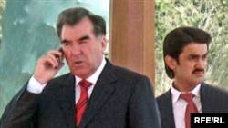 Tajik President Emomali Rahmon (left) and his son Rustami