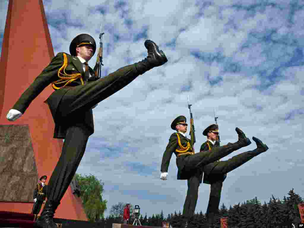 Moldovan soldiers march in front of the Victory Memorial in Chisinau, Moldova, on May 9, which is celebrated in former Soviet republics as Victory Day over Nazi Germany in World War II. Photo by John McConnico for AP