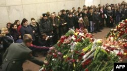 "Цветы на месте трагедии на станции ""Лубянка""."