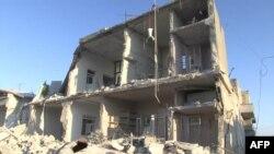 Разрушенный дом в городе Азаз