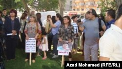 ناشطات يعتصمن أمام مكتب برلمان كردستان في السليمانية