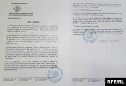 Kopija diplomatske note o povlačenju priznanja Kosova, koju je Ministarstvo spoljnih poslova Burundija uputilo Ministarstvu spoljnih poslova Srbije 15. februara 2018.