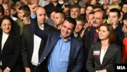 Macedonian Prime Minister Zoran Zaev (center), who has vowed to lead Macedonia to NATO and European Union membership