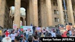 Грузиядағы митинг - Азаттық тілшісінің объективінде