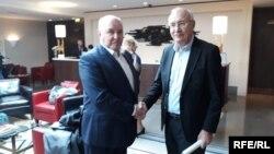 Григорий Карасин и Зураб Абашидзе на переговорах в Праге