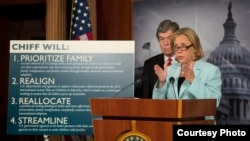 U.S. Senator Mary Landrieu presenting new adoption-related legislation in Washington, D.C. on September 19.