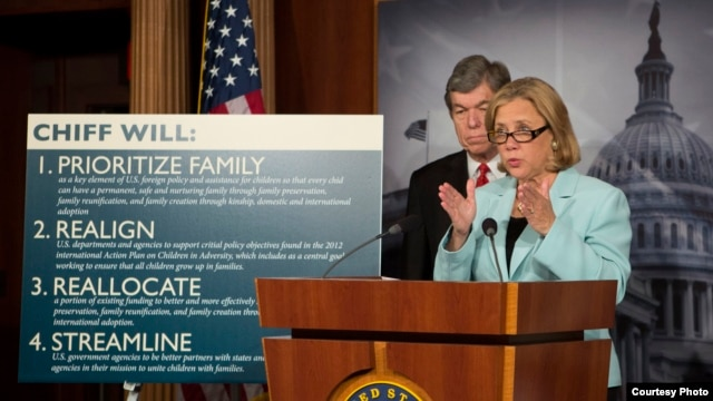 U.S. Senator Mary Landrieu presenting new adoption-related legislation in Washington, D.C. on September 19.