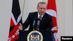 Kenya -- Turkish President Tayyip Erdogan addresses a news conference at State House in Nairobi, June 2, 2016