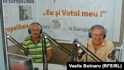 Ilia Trombițchi și Nicolar Misail în studioul Europei Libere la Chișinău