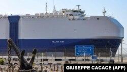 The MV Helios Ray cargo ship is seen docked in Dubai on February 28.