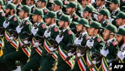 IRAN -- In this file photo taken on September 22, 2018 shows members of Iran's Revolutionary Guards Corps (IRGC) marching during the annual military parade which marking the anniversary of the outbreak of the devastating 1980-1988 war with Saddam Hussein'