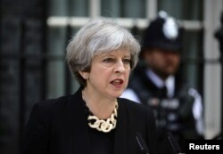 U.K. Prime Minister Theresa May speaks outside 10 Downing Street after the attack on London Bridge and Borough Market.