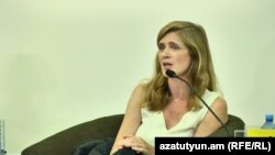 Armenia - Samantha Power speaks at a panel discussion in Yerevan, 8 June 2018.