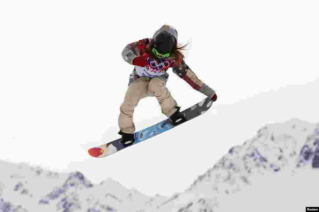 Американка Джейми Андерсон, завоевавшая золотую медаль в слоупстайле на Олимпиаде в Сочи.