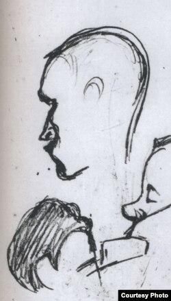 М.Добужинский. Наброски. Вверху в центре - Н.Гумилев. 1908.