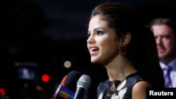 "Selena Gomez is interviewed at the premiere of the film ""Getaway"" in Los Angeles, California, on August 26, 2013."