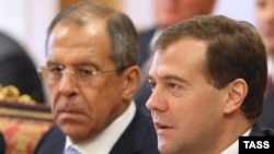 Russia's Dmitry Medvedev (right) hopes to meet Barack Obama soon, Foreign Minister Lavrov (left) said.