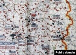 Фрагмент карти проведення операції «Запад» у Тернопільській області. Синій колір – кількість «контингенту» (осіб, які підлягають депортації). Червоний – кількість військовослужбовців МГБ, залучених до проведення депортації. Жовтогарячі кружечки – місця дислокації оперативних груп військ МГБ