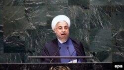 Presidenti iranian, Hassan Rohani, gjatë fjalimit të tij në KS të OKB-së.