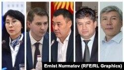 Слева направо: Аида Исмаилова, Артем Новиков, Садыр Жапаров, Равшан Сабиров и Максат Мамытканов.