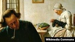 Вібранд Хендрыкс, «Жанчына цыруе шкарпэтку ў інтэр'еры» (пачатак 19 ст.).