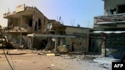 Следы боев в одном из городов провинции Хомс