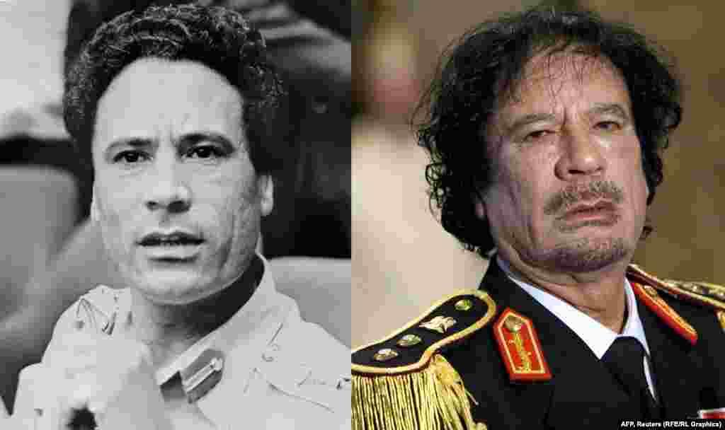 Бывший президент Ливии Муаммар Каддафи в 1975-м (слева) и в 2009 году.