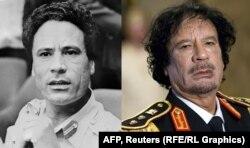 Муаммар Каддафи - на заре своей карьеры и незадолго до смерти