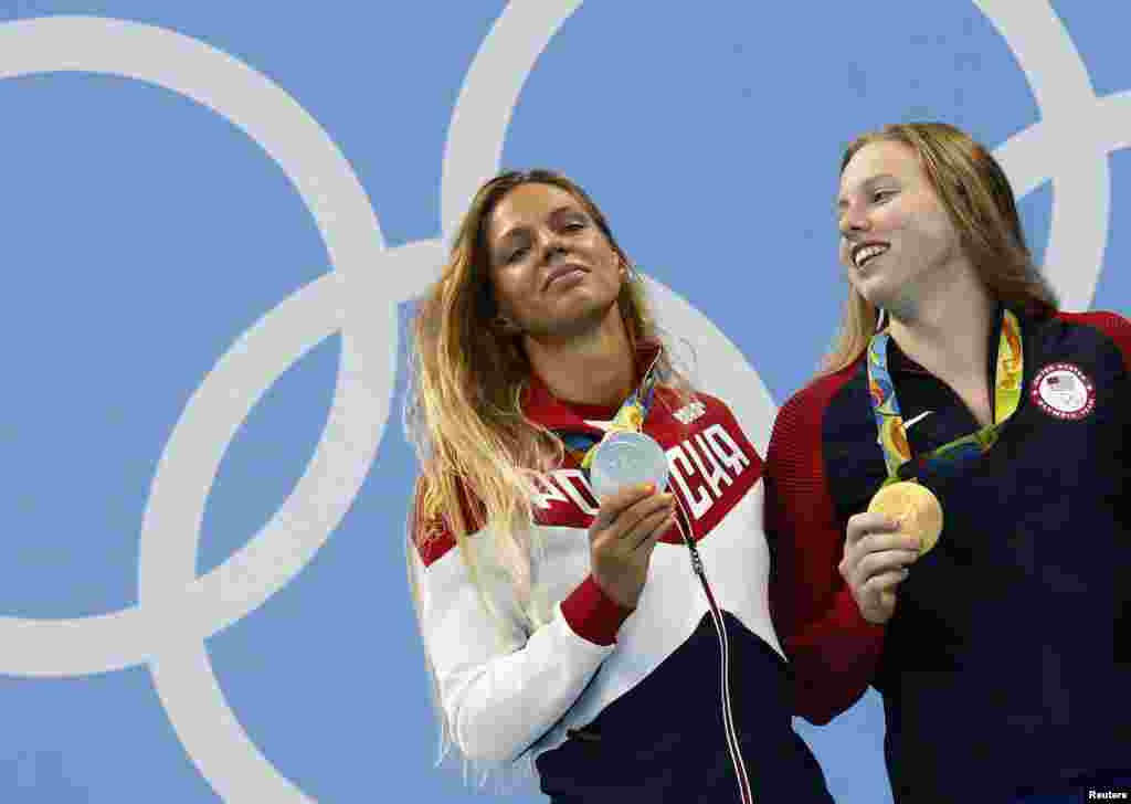 The drug issue led to a war of words between U.S. swimmer Lilly King (right) and two-time doping transgressor Yulia Efimova of Russia. King said after beating Efimova in a race that she should not have been allowed to compete in Rio.