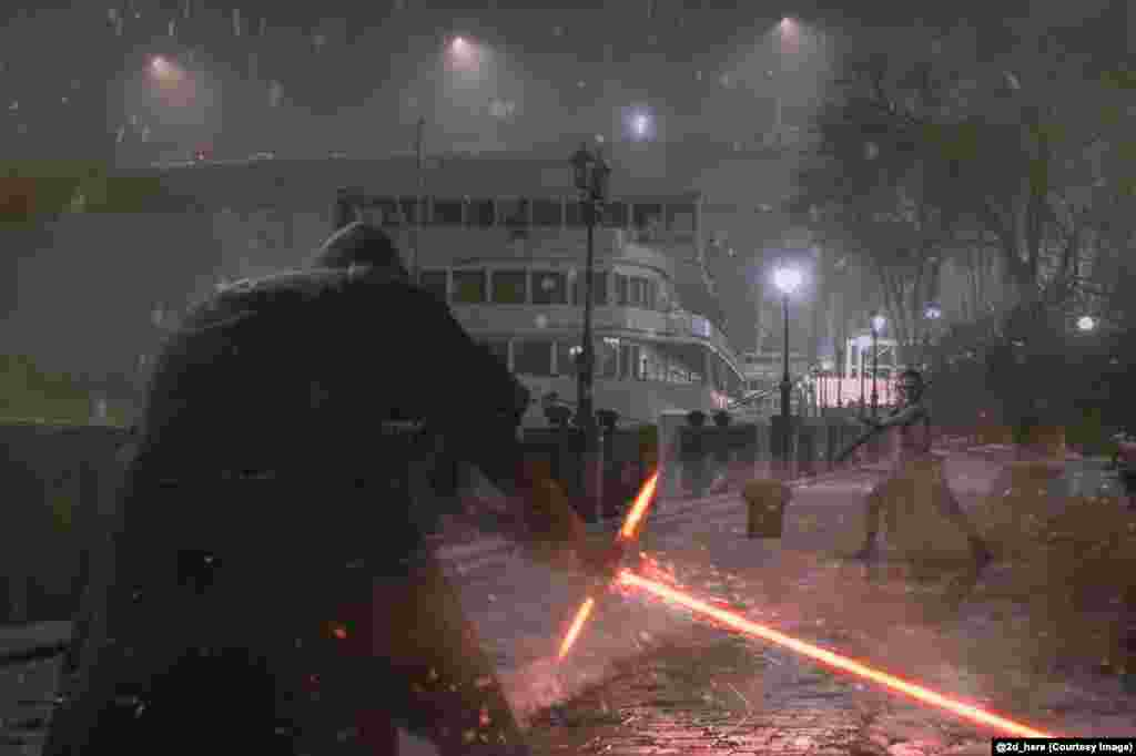 A Star Wars lightsaber battle lights up a riverbank in Rostov-on-Don. Zubkov, who also created this image, says he uses Photoshop to create his works and each takes around half a day to complete.