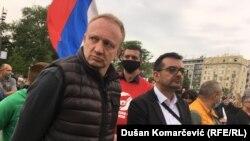 Dragan Đilas na protestu ispred Skupštine Srbije, 17. maj.