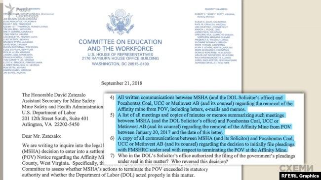 У листі Конгрес висловив сумніви щодо законності угоди й попросив вказати точну дату повної перевірки шахти