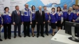 Russian President Vladimir Putin attends the inauguration ceremony of power stations in the cities of Sevastopol and Simferopol by video link during a visit to Crimea in March 2019.