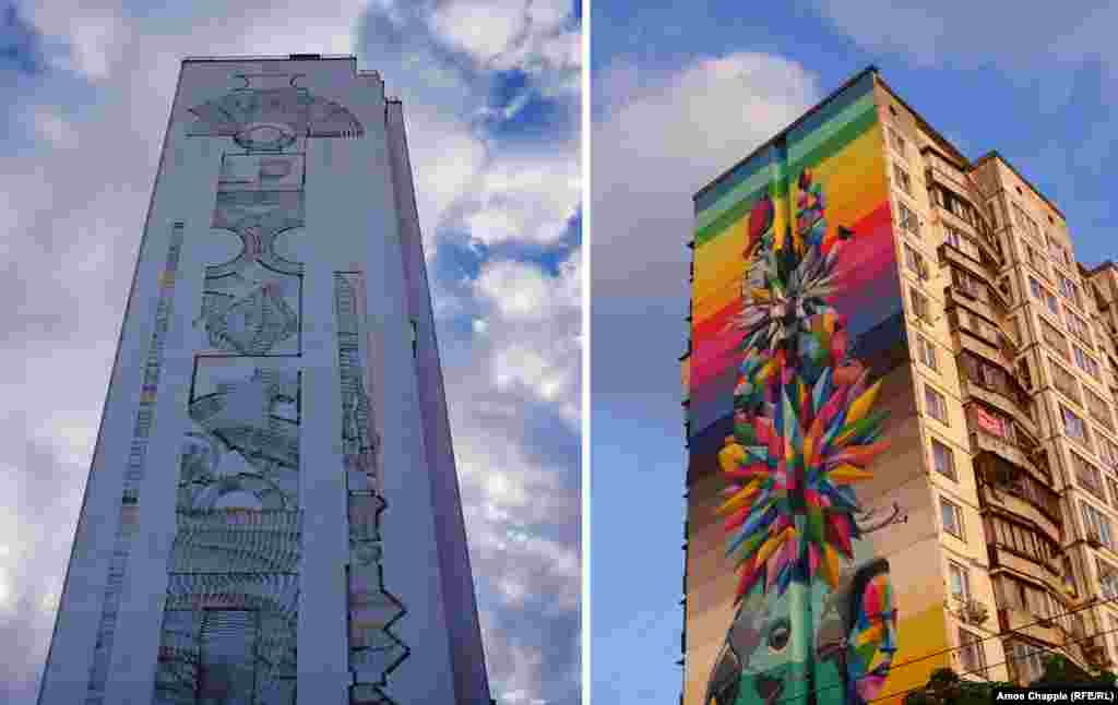 Murals by Italian artist 2501 (left) and Spanish Artist Okuda. The mural by 2501 is believed to be the tallest in Europe.
