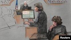 Адвокат Царнаєва Джуді Кларк виступає в суді із заключним словом, 6 квітня 2015 року (малюнок із зали суду)
