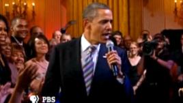 Președintele Barack Obama la Casa Albă într-un duet improvizat cu B.B. King
