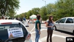 """Денонощната блокада на пътя Стара Загора - Димитровград, препятстваща движението към автомагистрала """"Тракия"""""""