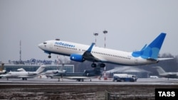 An Aeroflot-owned Pobeda takes off from Moscow's Vnukovo International Airport.